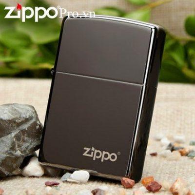 Zippo Black Ice with logo (Dark Chrome)-Zippo 150ZL