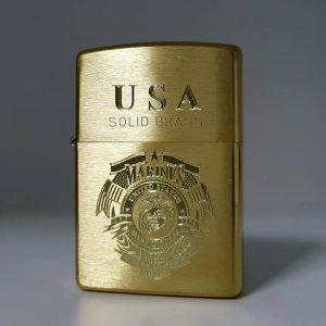 Zippo Brushed Brass Solid-Khắc sâu Logo-Mã: 204BKS-204b
