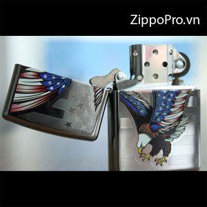 Zippo Eagle Flag Polished Chrome- Zippo 28449