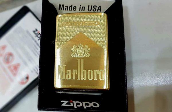 Zippo Brushed Brass Solid-Khắc Malbrol-Mã: 204BKS-204b