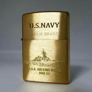 Zippo Brushed Brass Solid-Khắc sâu Logo-Mã: 204BKS-204