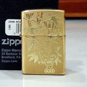 Zippo Brushed Brass Solid-Khắc Hổ-Mã: 204KS