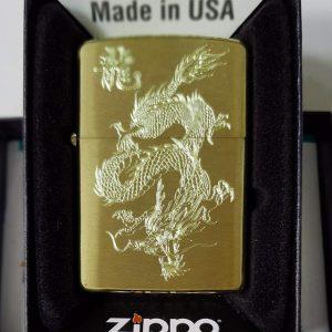 Zippo Brushed Brass Solid-Khắc thuốc 555-Mã: 204BKS-204b