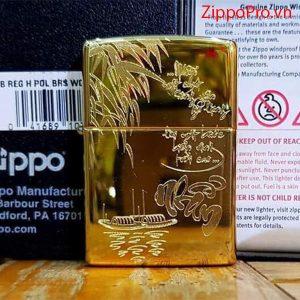 Zippo High Polished Brass-Mã: 254B-zippo khắc chữ nhẫn