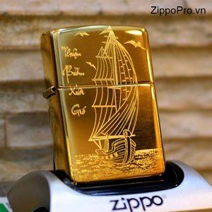 Zippo High Polished Brass-Mã: 254B-Zippođồng vàng nguyên khối khắc sâu CNC thuận buồm xuôi gió - Mã: 254BTB