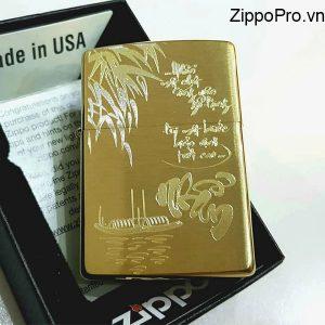 Zippo Brushed Brass Solid-Mã: 204B-zippo khắc chữ nhẫn