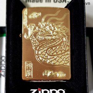 Zippo Brushed Brass Solid-Mã: 204B- zippo khắc rồng vàng