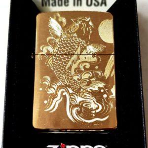 Zippo Brushed Brass Solid-Mã: 204B-zippo khắc cá chép