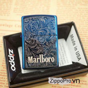 Zippo khắc sâu CNC Marlboro - Mã : 20446MB-Zippo High Polish Blue