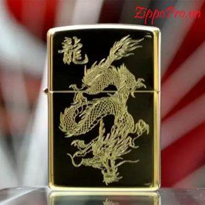 Zippo khắc sâu CNC Rồng vàng - Mã: 254BR2